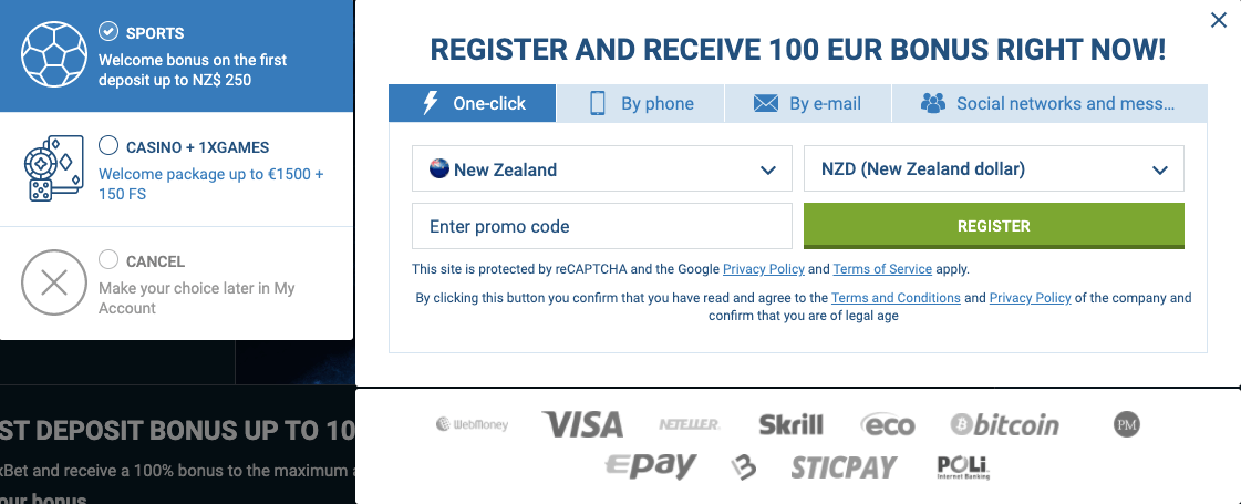 1xbet nz Registration