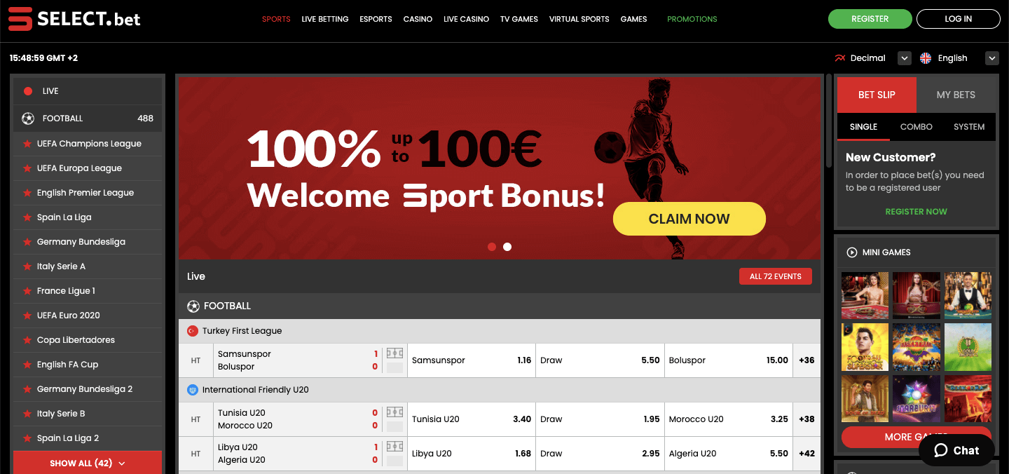 Select.bet nz Homepage