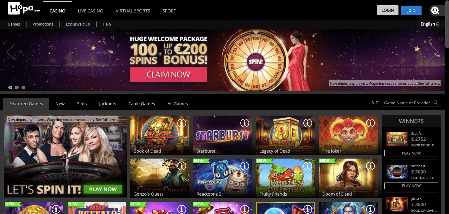 Hopa Casino NZ Homepage