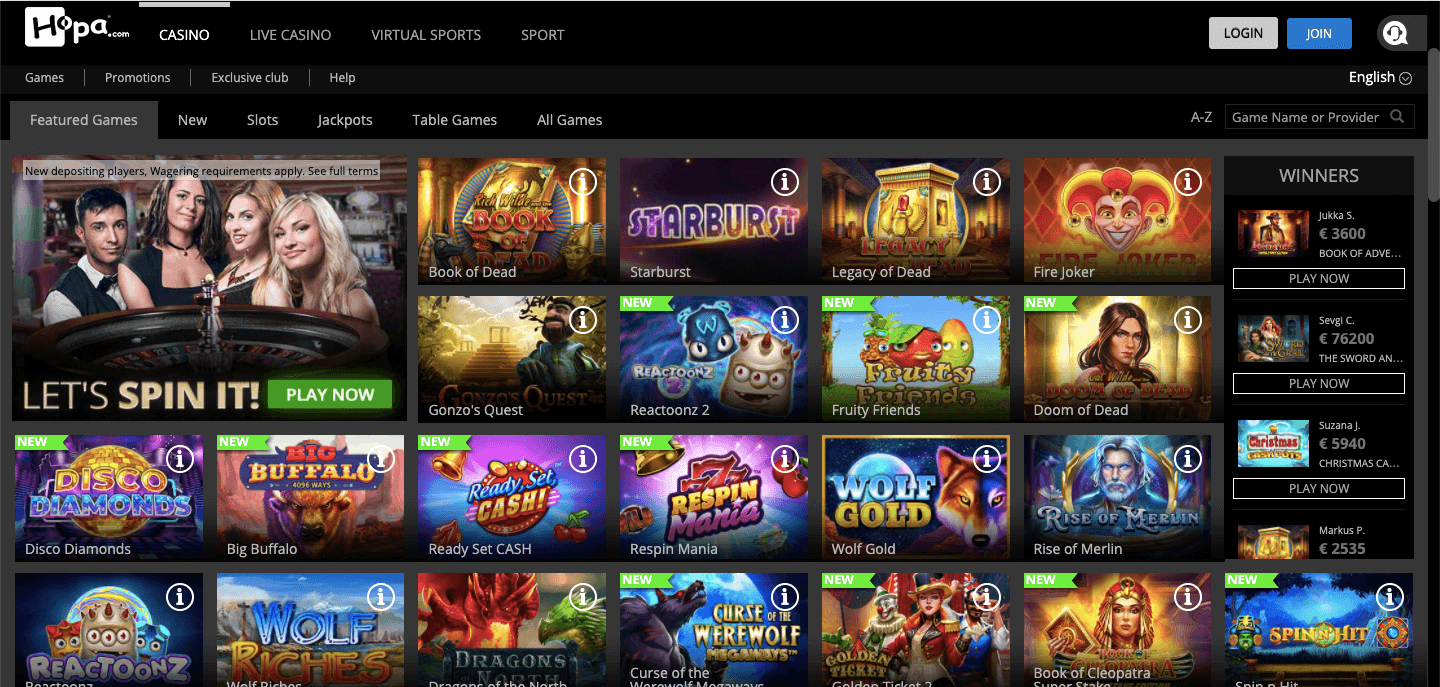 Hopa Casino NZ Slot