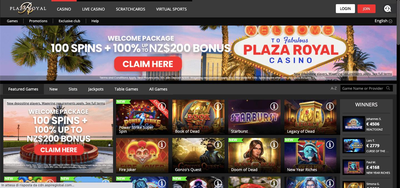 Plaza Royal Casino Homepage