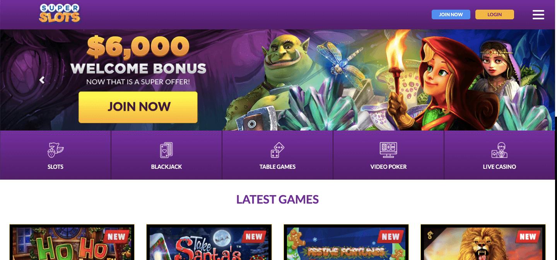Super Slots Casino nz Homepage