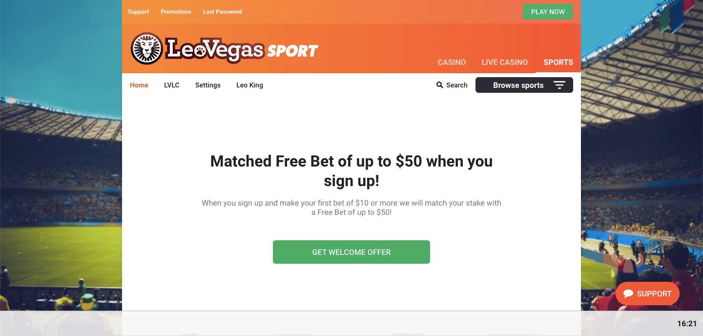 LeoVegas NZ Homepage